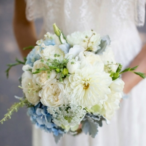 White & Pale Blue Bouquet