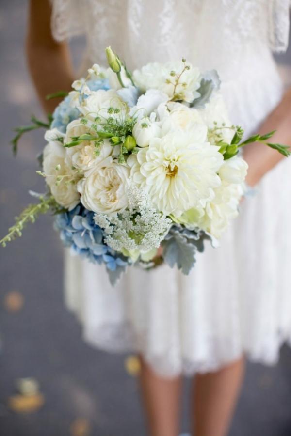 White & Pale Blue Bouquet