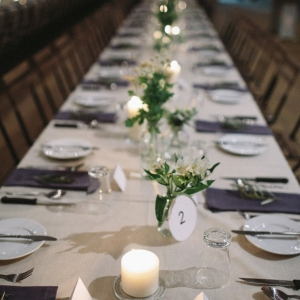 Long Table With Eggplant Linen