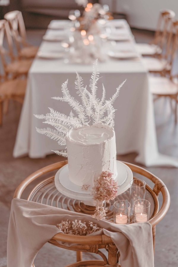 Minimalist wedding cake with bleached ferns