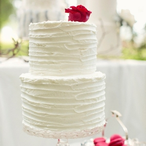 White Cake With Red Details