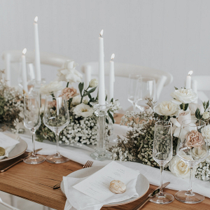 Romantic white and blush wedding tablescape