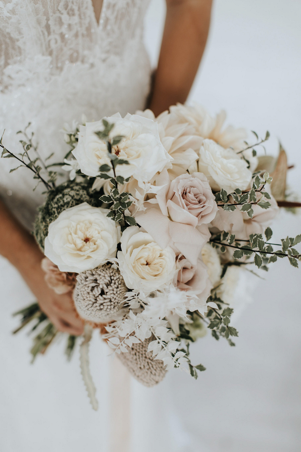 Romantic white and blush bridal bouquet