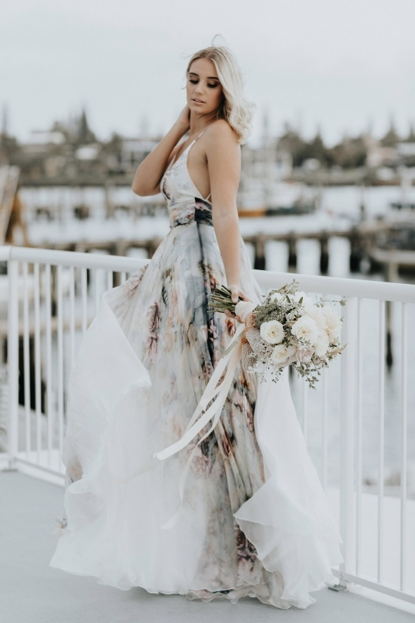 Watercolor print wedding dress
