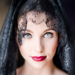 Bride With Black Mantilla and Red Lips