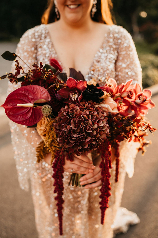 Boho burgundy bridal bouquet