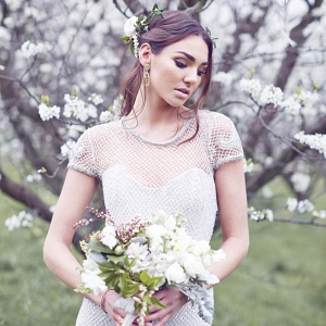 Silver Mesh Wedding Gown