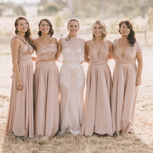 Bridesmaids In Pink Two Birds Bridesmaid Gowns