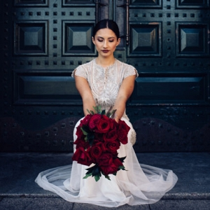Bride With Red Roses