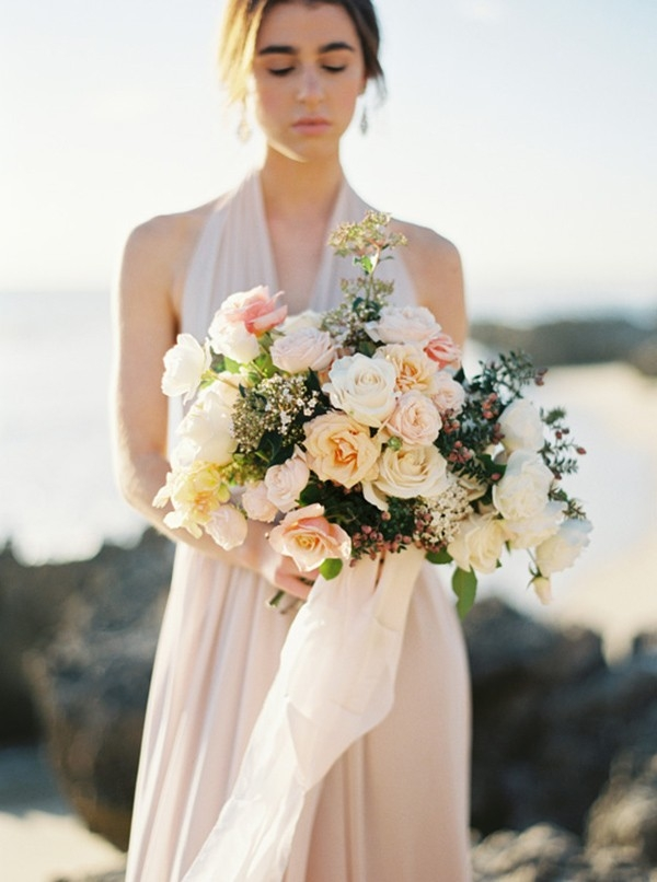 Bouquet of Peach Pink & Cream Roses