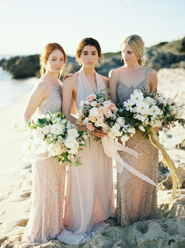 Bridesmaids On Beach In Taupe Gowns