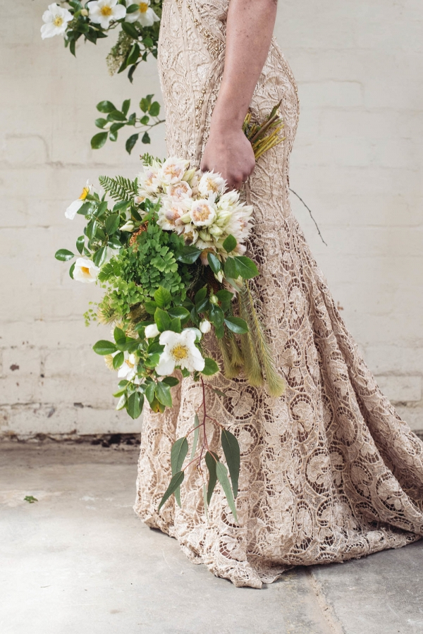 Green Bouquet With Taupe Gown