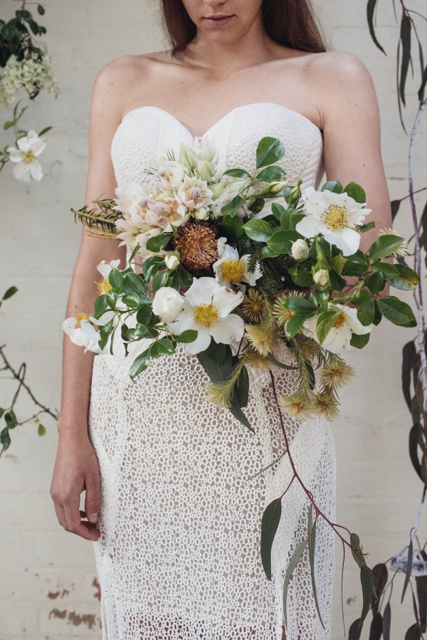 Stunning Loose White & Green Bouquet