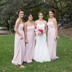 Bride With Bridesmaids In Pink
