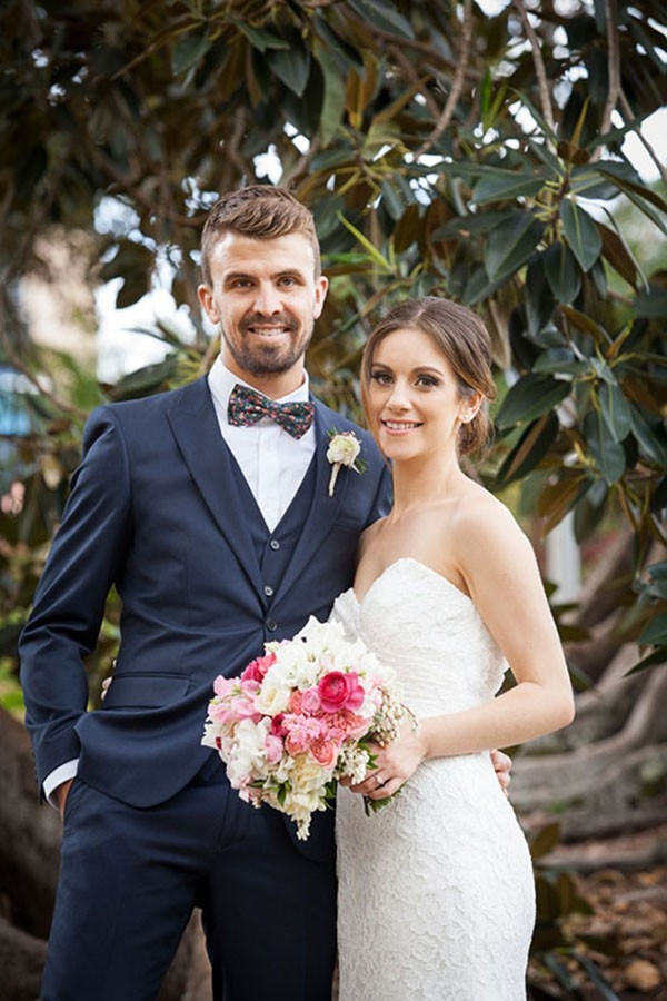 Newlyweds At Their Spring Wedding