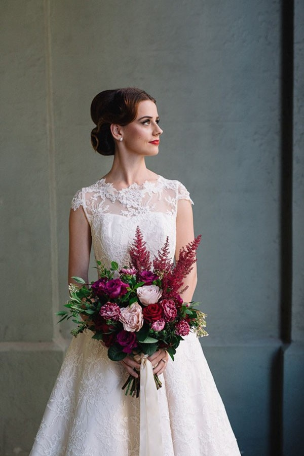 Bride With Pink & Red Bouquet