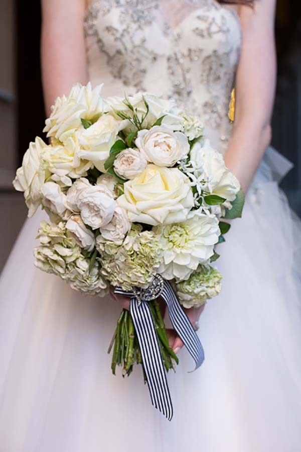 White Bouquet With Striped Ribbon