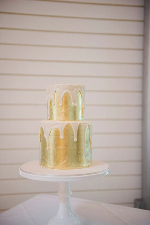 Two Tier Gold Wedding Cake