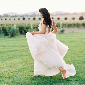 Bride Running In Beautiful Gown