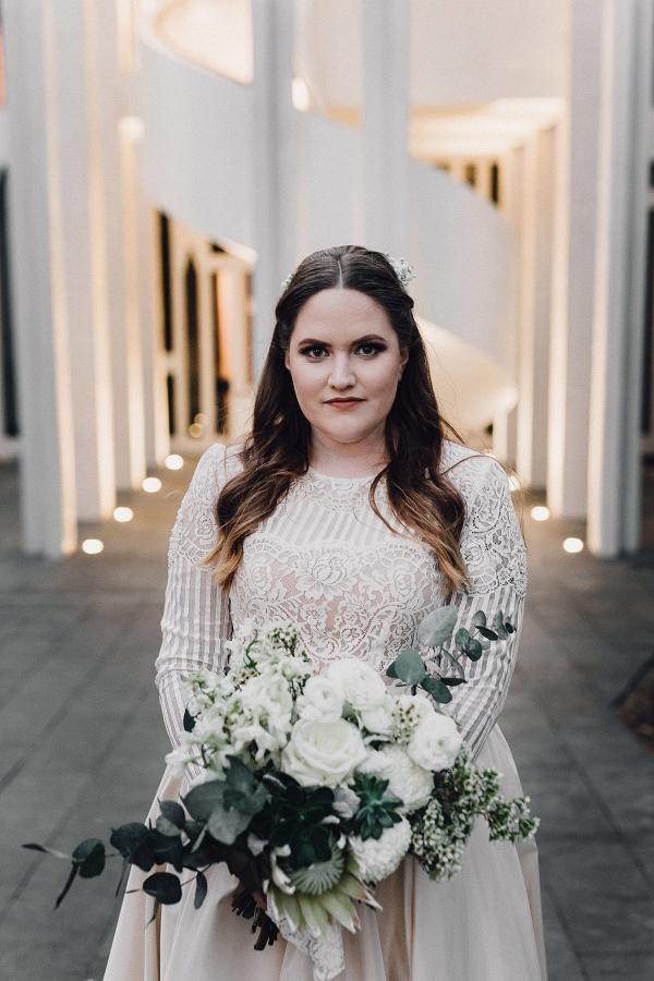 Cream long sleeve wedding dress