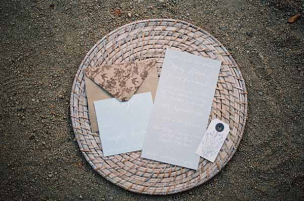 Taupe & Grey Wedding Invitation