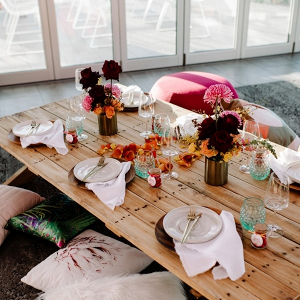 Modern boho low table reception