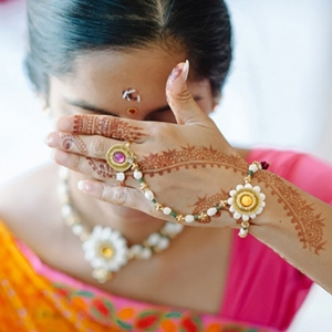 Indian Bride In Sari With Henna
