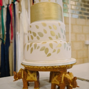Gold & White Wedding Cake