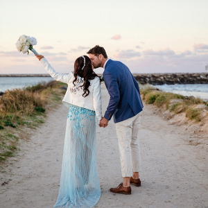 Bride in blue wedding dress