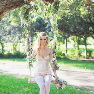 A Whimsical Bridesmaid On A Swing