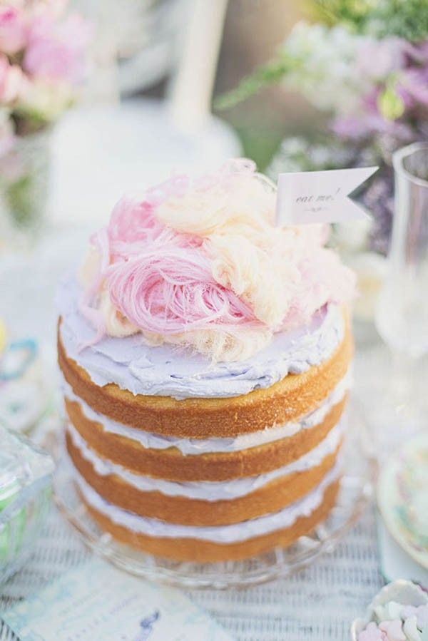 Naked Wedding Cake WIth Persian Fairy Floss