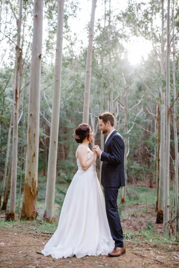 Groom and Bride In Forest Setting