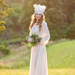 Bohemian Bride With Hairpiece