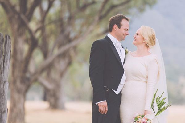 Newlyweds In White Tie