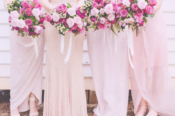 Pale Pink Bridesmaid Gowns