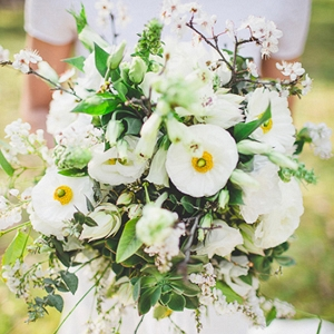 Wild Green And White Bouquet