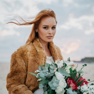 Bride With Faux Fur Coat