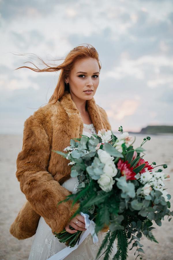 Bride With Faux Fur Coat
