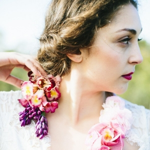 Floral Necklace On Bride