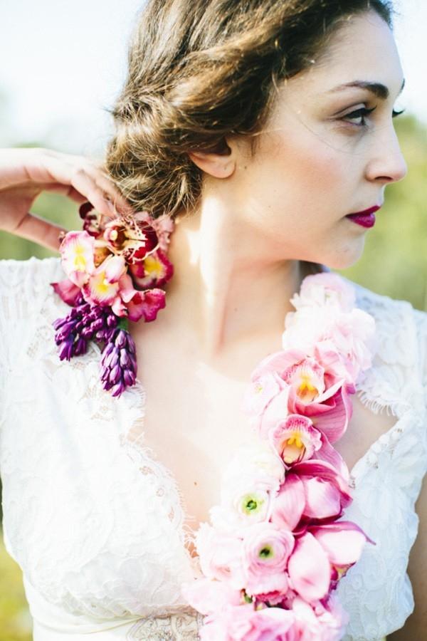 Floral Necklace On Bride