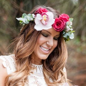 Bride WIth Pink Flower Crown