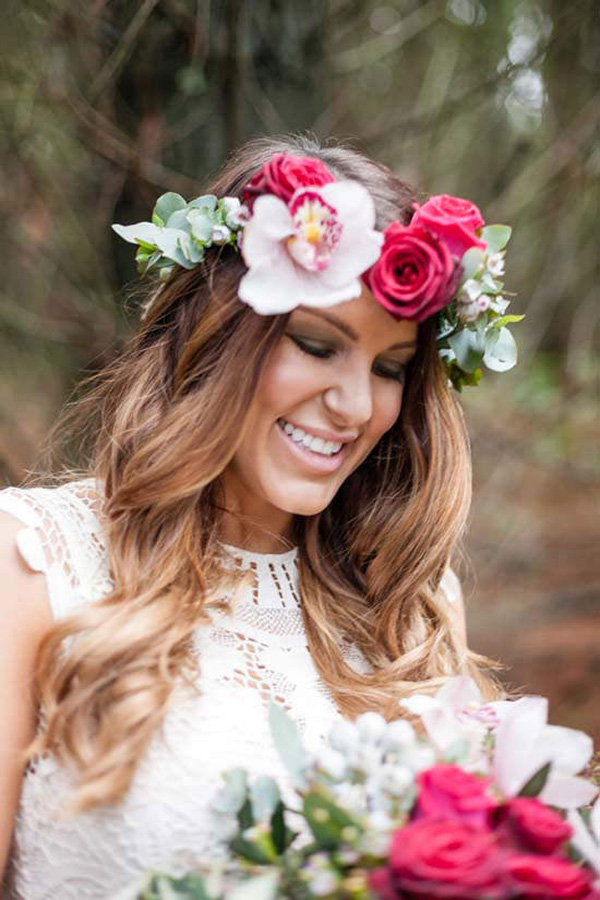 Bride WIth Pink Flower Crown