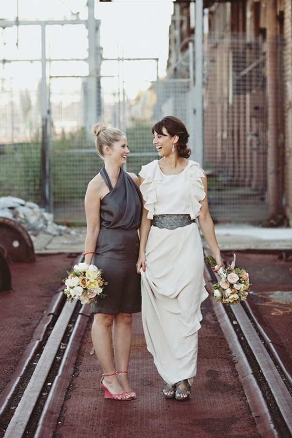 Bride With Bridesmaid In Steel Grey Dress