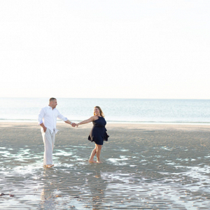 Summertime massachusetts beach engagement session