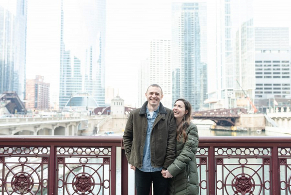 Casual Chicago skyline engagement session