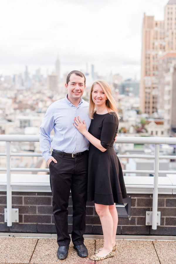 Casual urban rooftop engagement session