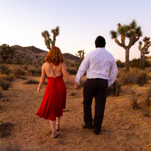 Desert engagement session at sunrise
