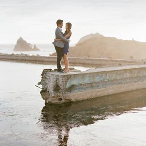 Engagement shots on a lake