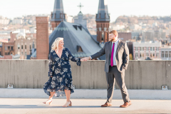 December rooftop engagement session in Birmingham
