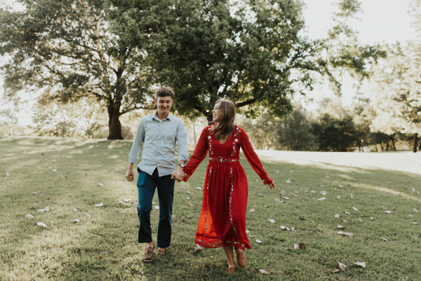 Golden hour engagement session in arkansas